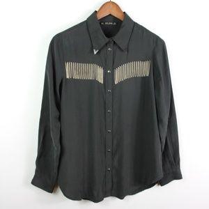 ZARA Basic Shirt Western Metal Fringe Snap Button